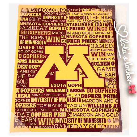 University of Minnesota Gophers Typograpy Sign